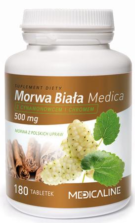 Morwa Biała Medica 500 mg  z cynamonowcem i chromem - 180 tabletek
