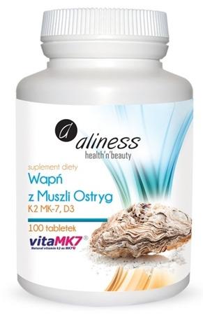 Wapń z muszli ostryg z witaminą K2 MK7 i D3 - 100 tabletek